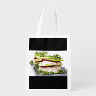 Apple and trout appetizer reusable grocery bag