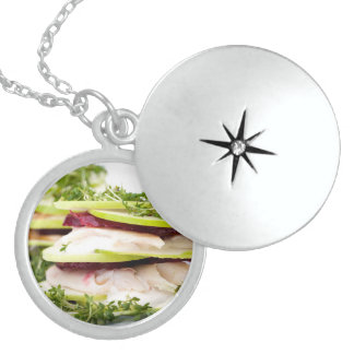 Apple and trout appetizer round locket necklace