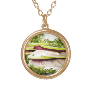 Apple and trout appetizer round pendant necklace