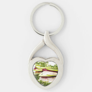 Apple and trout appetizer Silver-Colored Heart-Shaped metal keychain