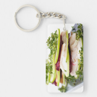 Apple and trout appetizer Single-Sided rectangular acrylic keychain