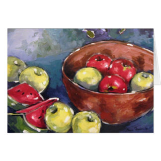 Apple and Watermelon Still Life Greeting Card