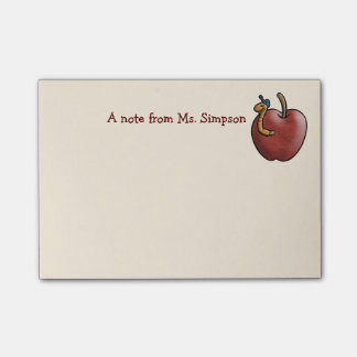 Apple and Worm for the Teacher Post-it Notes