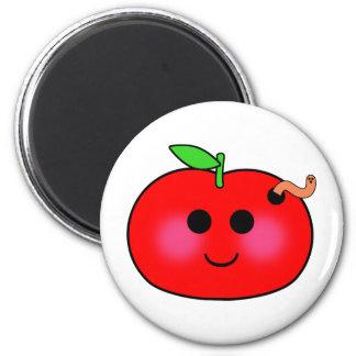 Apple and Worm Fridge Magnets