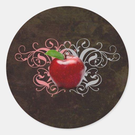 Apple antiguo pegatina redonda