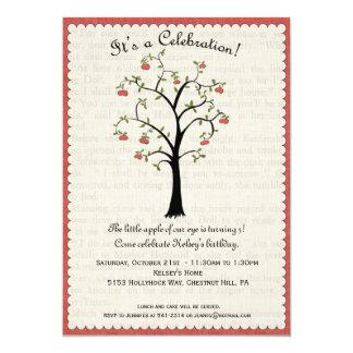 """Apple / Apple Tree Birthday Invitation 5"""" X 7"""" Invitation Card"""