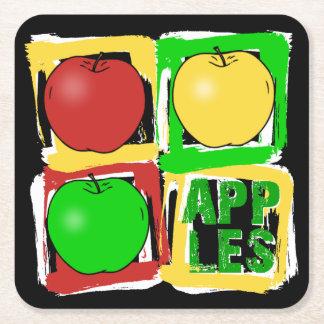 Apple art deco square paper coaster