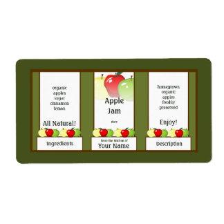 Apple atasc la etiqueta de enlatado del tarro etiquetas de envío