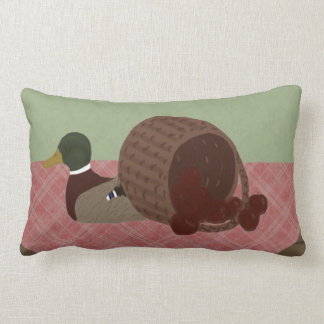 Apple Basket and Duck Decoy Throw Pillow