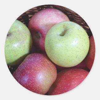 Apple Basket Classic Round Sticker