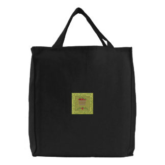 Apple Basket Embroidered Tote Bag