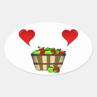 Apple Basket Love Oval Sticker