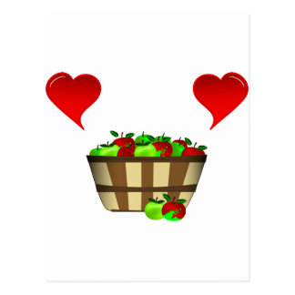 Apple Basket Love Postcard