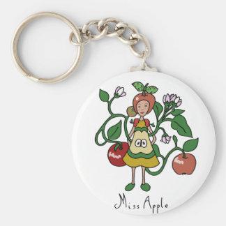 Apple beauty queen basic round button keychain