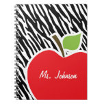 Apple; Black & White Zebra Stripes Spiral Note Book