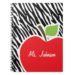 Apple; Black & White Zebra Stripes Notebook
