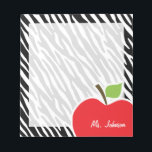 "Apple; Black &amp; White Zebra Stripes Notepad<br><div class=""desc"">You will love this cute, red apple, teacher themed Black &amp; White Zebra Stripes pattern design! This red apple design is a great gift for the world&#39;s best teacher or professor! Visit our store, Monogram Baby, to view this cool, trendy pattern on many more customizable products, including modern teacher baby...</div>"