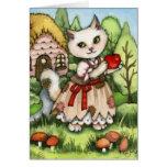 Apple blanco como la nieve - tarjeta linda del gat