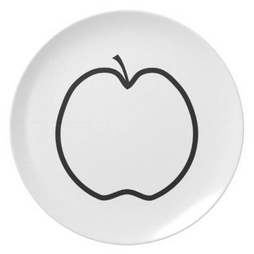 Apple blanco y negro platos para fiestas