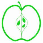 Apple blanco y verde medio escultura fotográfica
