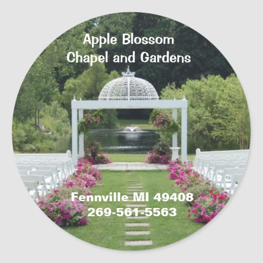 Apple Blossom Chapel and Gardens Classic Round Sticker