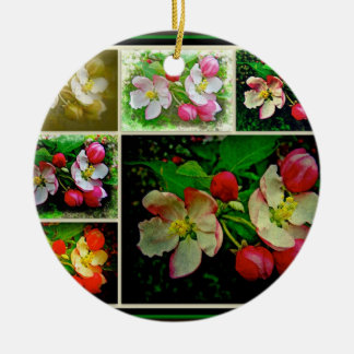 Apple Blossom Collage - Enhanced Digital Photo Ceramic Ornament