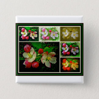 Apple Blossom Collage - Enhanced Digital Photo Pinback Button
