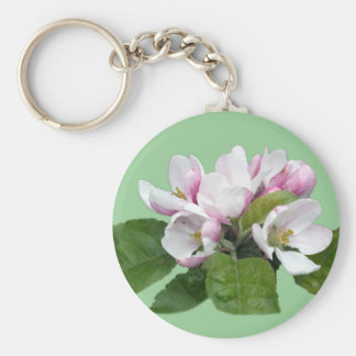 apple blossom flowers and green leaves key chain