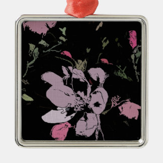 Apple Blossom in Ink Metal Ornament