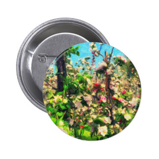 Apple Blossom Oil Painting Pinback Button