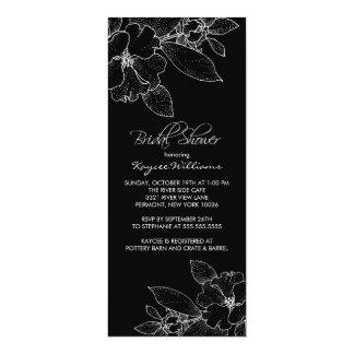 "Apple Blossom on Black Bridal Shower Invitation 4"" X 9.25"" Invitation Card"