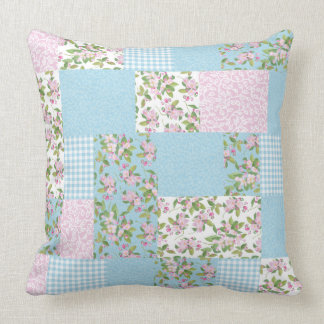 Apple Blossom Pink and Blue Floral Faux Patchwork Throw Pillow