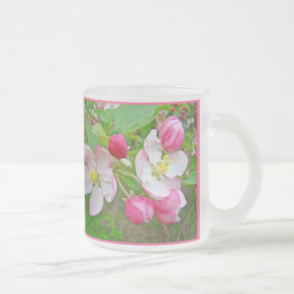 Apple Blossom Time 10 Oz Frosted Glass Coffee Mug