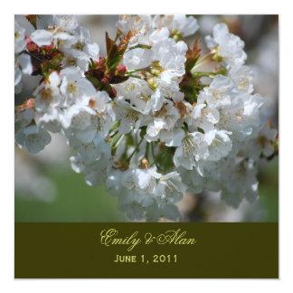 """Apple Blossom Wedding Invitation 5.25"""" Square Invitation Card"""