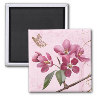 Apple Blossoms 2 Inch Square Magnet