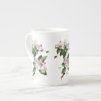 Apple Blossoms and Bees Bone China Mug