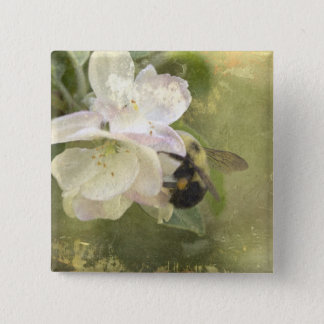 Apple Blossoms and Bumblebee Button