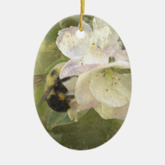 Apple Blossoms and Bumblebee Ceramic Ornament