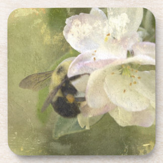 Apple Blossoms and Bumblebee Drink Coaster