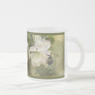 Apple Blossoms and Bumblebee 10 Oz Frosted Glass Coffee Mug