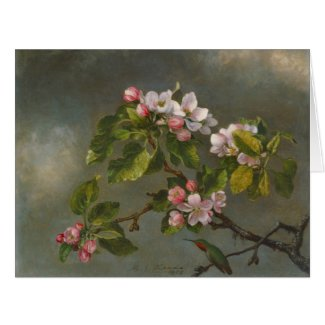 Apple Blossoms and Hummingbird 1875 Card