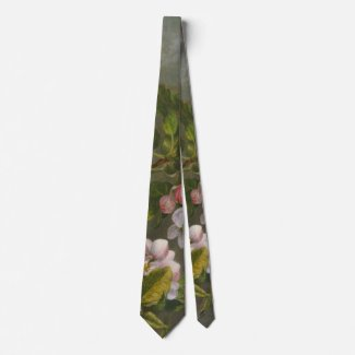 Apple Blossoms and Hummingbird 1875 Neck Tie