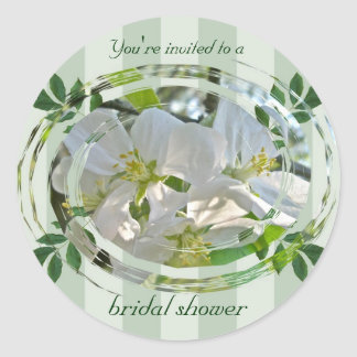 Apple Blossoms Bridal Shower Invitation Sticker