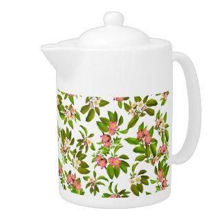 Apple Blossoms Floral Teapot