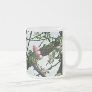 Apple Blossoms Frosted Glass Coffee Mug