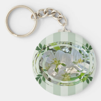 Apple Blossoms Green Stripes Keychain
