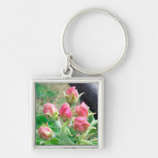 Apple Blossoms Silver-Colored Square Keychain