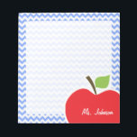 """Apple; Blue Chevron Notepad<br><div class=""""desc"""">You will love this cute, red apple, teacher themed Blue Chevron pattern design! This red apple design is a great gift for the world&#39;s best teacher or professor! Visit our store, Monogram Baby, to view this cool, trendy pattern on many more customizable products, including modern teacher baby shower invitation postcards...</div>"""