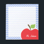 "Apple; Blue Chevron Notepad<br><div class=""desc"">You will love this cute, red apple, teacher themed Blue Chevron pattern design! This red apple design is a great gift for the world&#39;s best teacher or professor! Visit our store, Monogram Baby, to view this cool, trendy pattern on many more customizable products, including modern teacher baby shower invitation postcards...</div>"