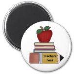 Apple, Books, Pencil Teachers Rock 2 Inch Round Magnet